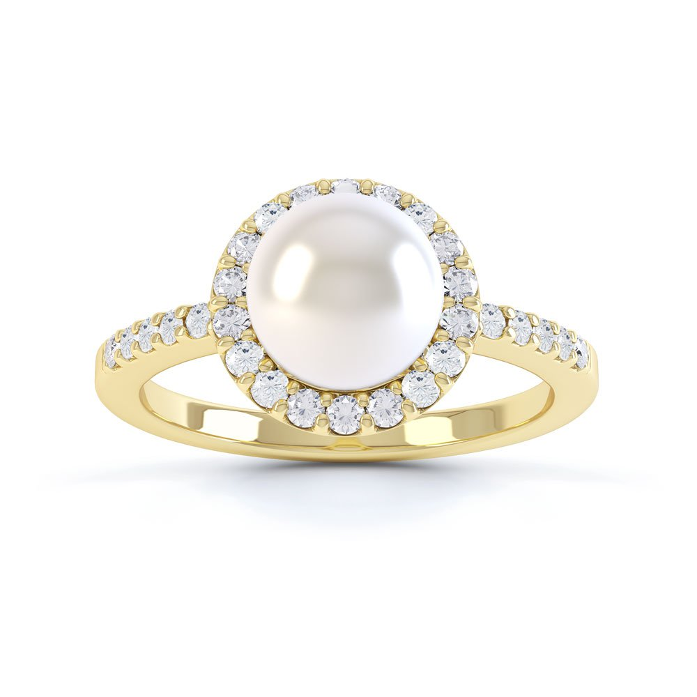 Venus Akoya Pearl and Diamond 18ct Yellow Gold Halo Engagement Ring