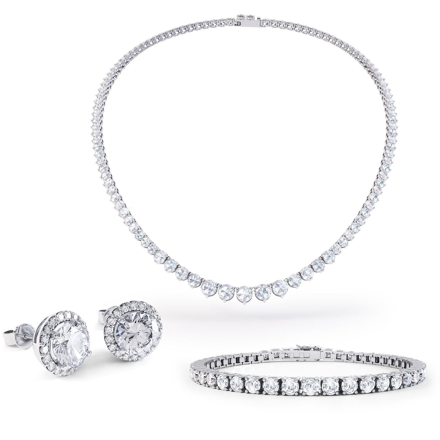Eternity White Sapphire Platinum plated Silver Jewelry Set with Necklace