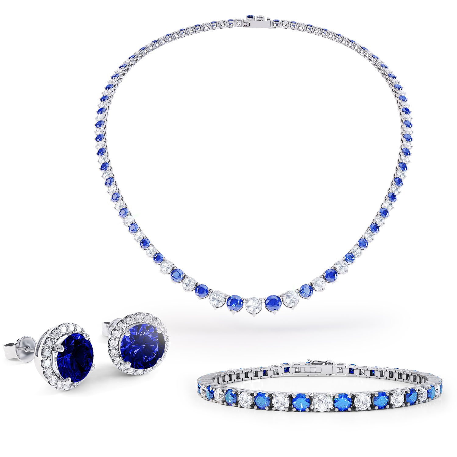 Eternity Sapphire Platinum plated Silver Jewelry Set with Necklace