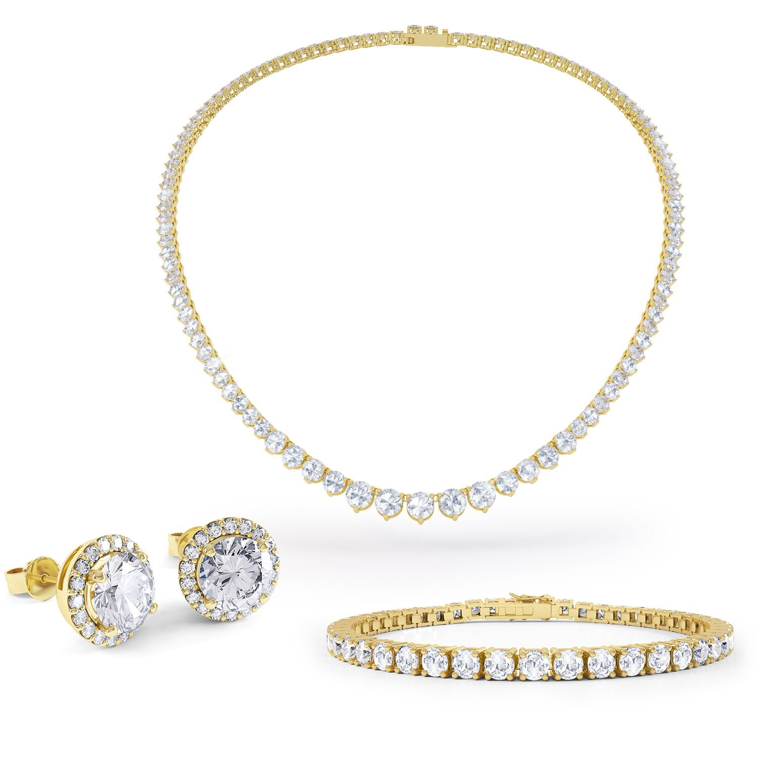 Eternity Diamond CZ 18ct Gold finished Silver Jewelry Set