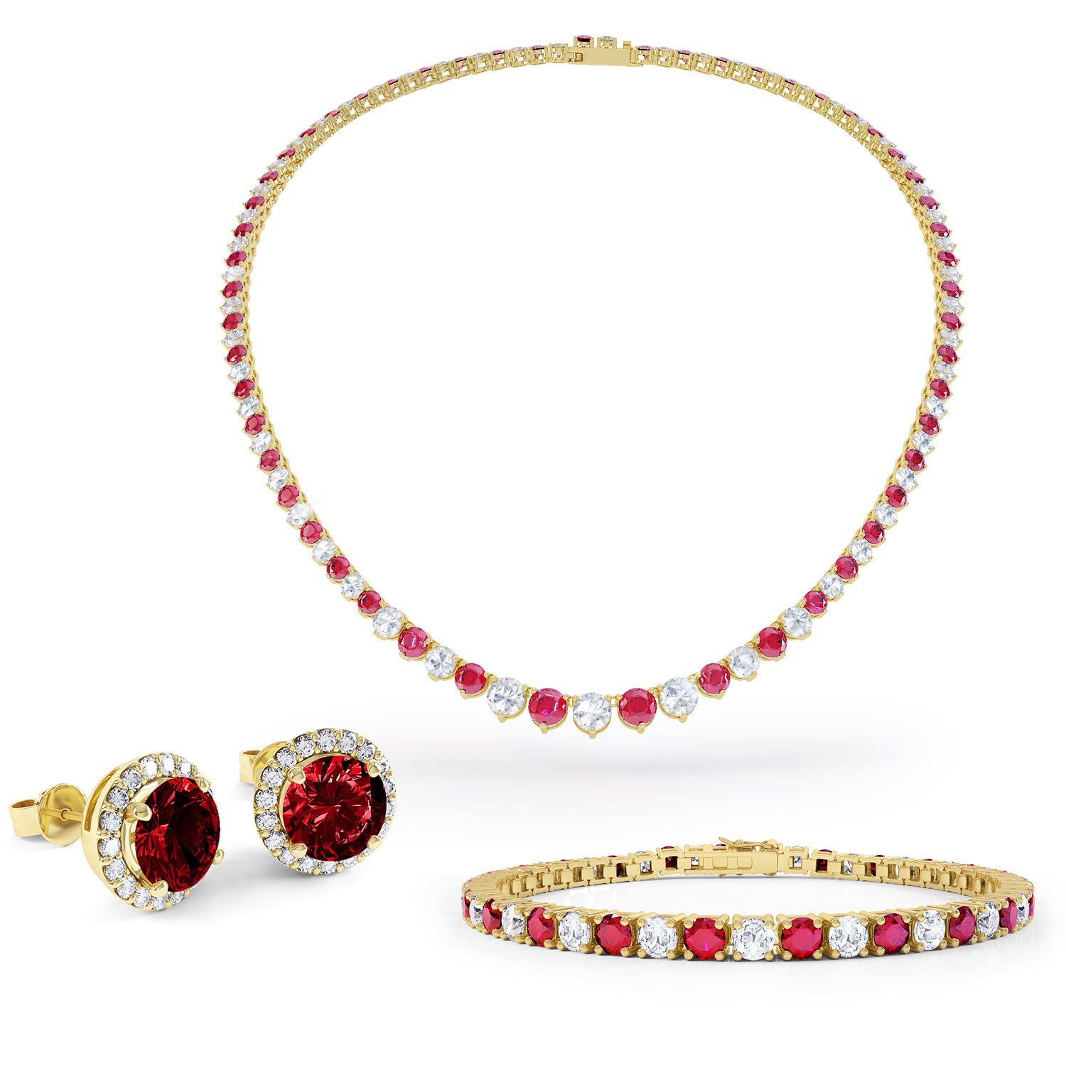 c6009c281df28 Eternity Ruby 18ct Gold Vermeil Jewelry Set with Necklace