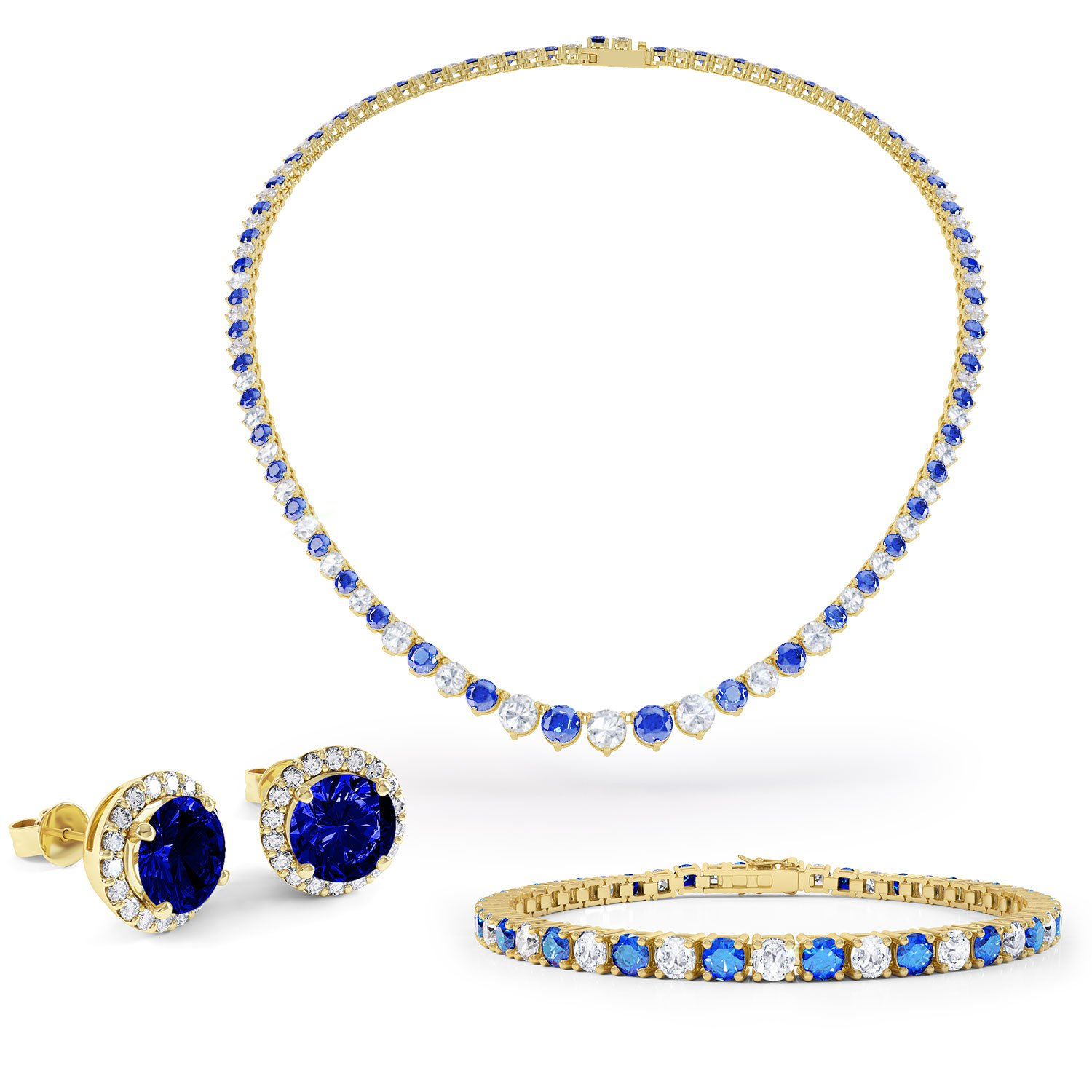 Eternity Sapphire CZ 18ct Gold plated Silver Jewelry Set