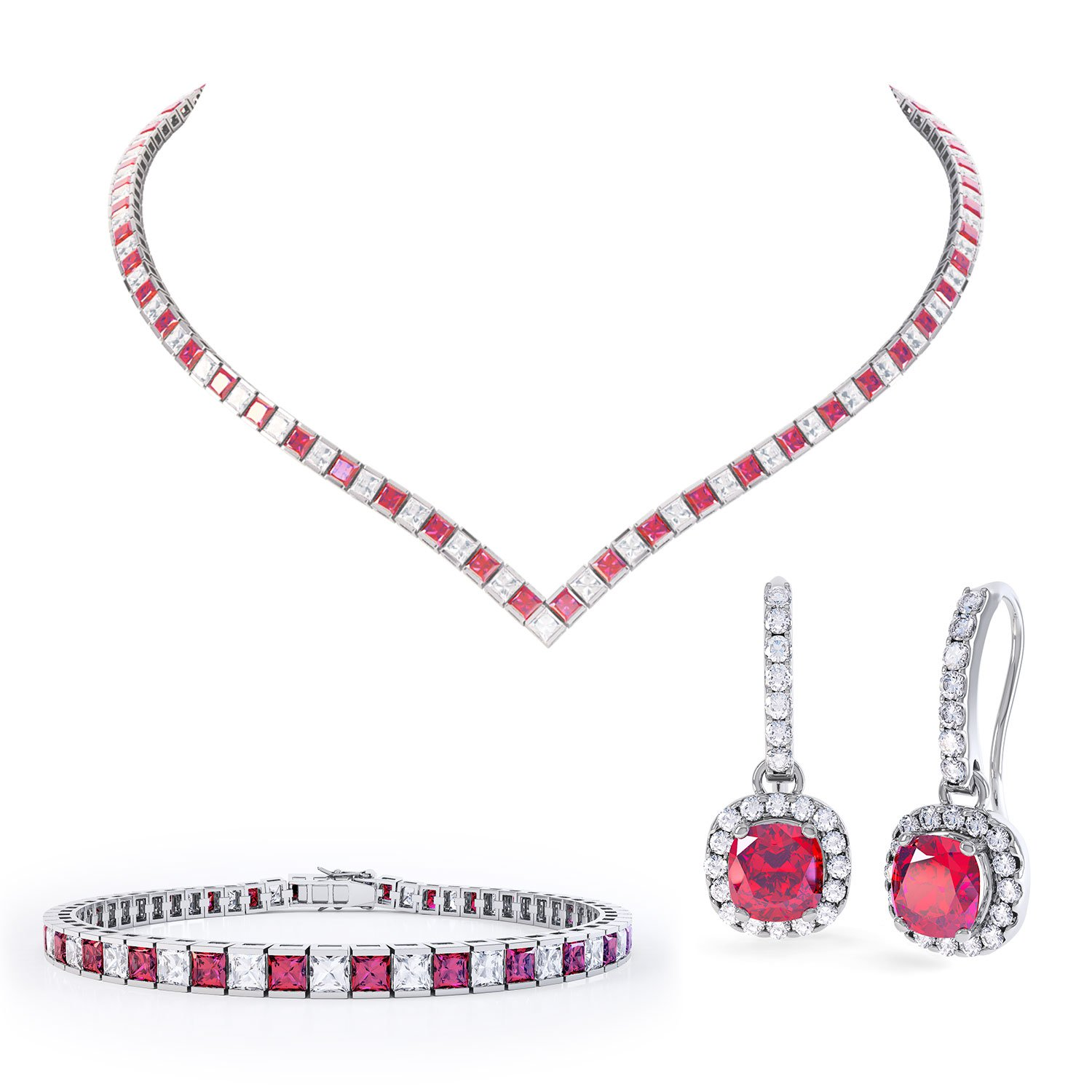 Princess Ruby Platinum plated Silver Jewelry Set