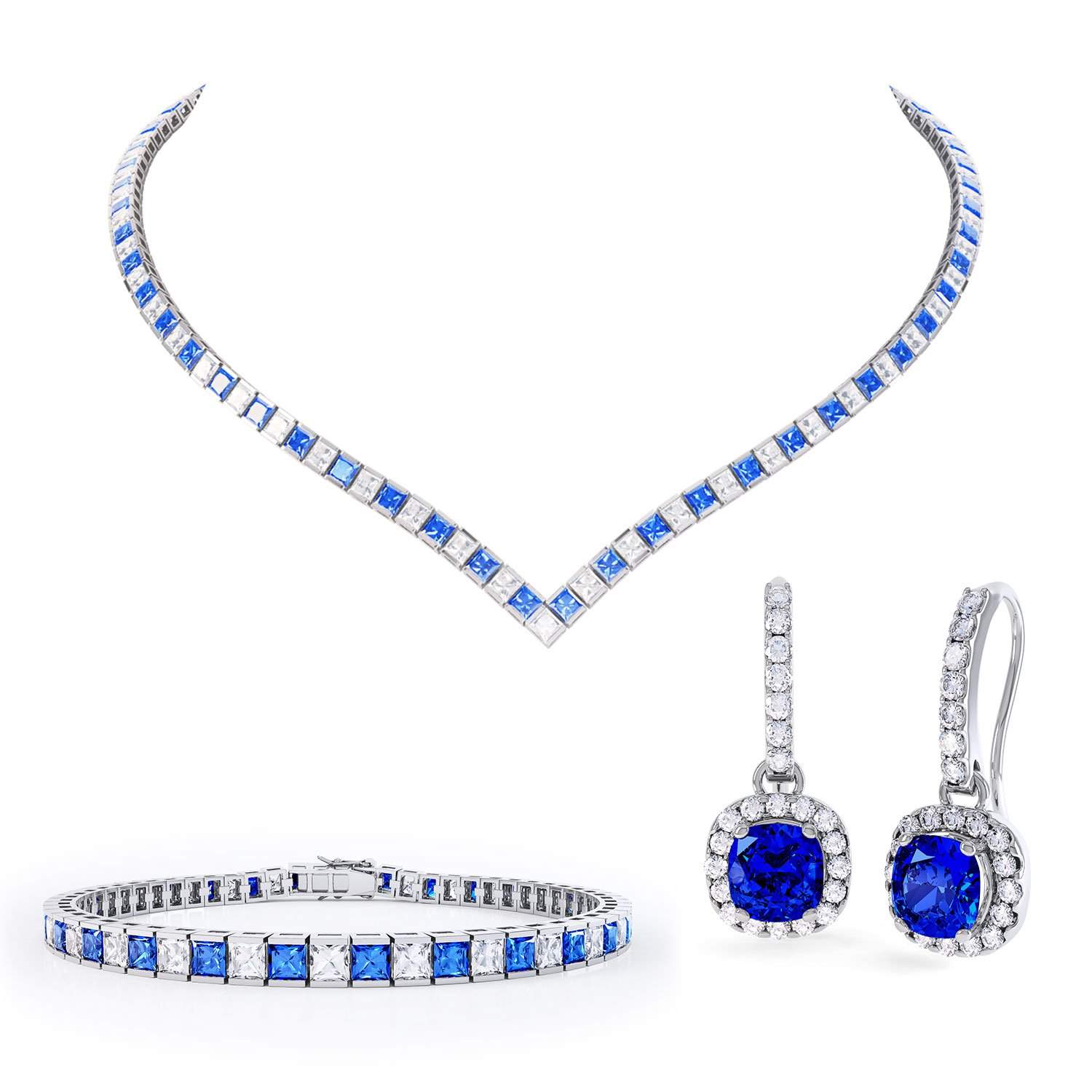 Princess Sapphire CZ Rhodium plated Silver Jewelry Set