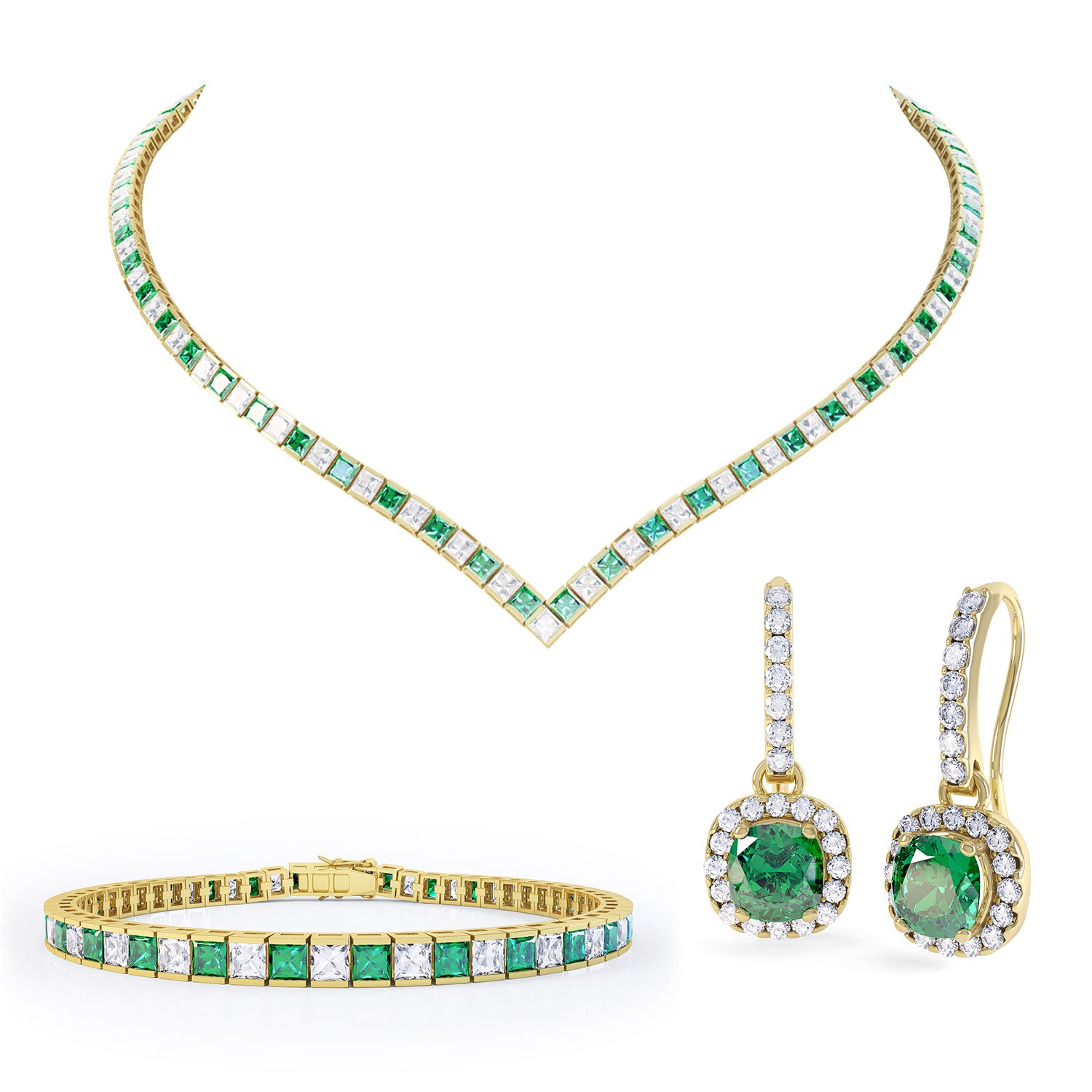 Princess Emerald 18ct Gold Vermeil Jewelry Set