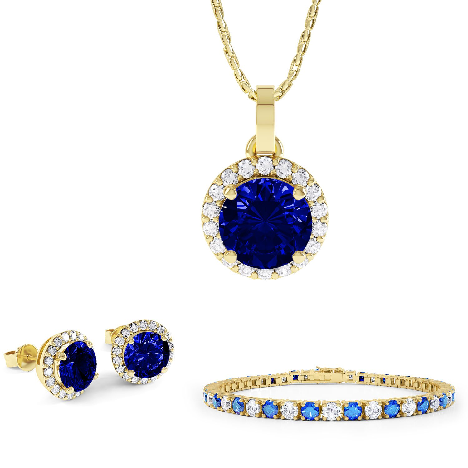 Eternity Sapphire 18ct Gold Vermeil Jewelry Set with Pendant