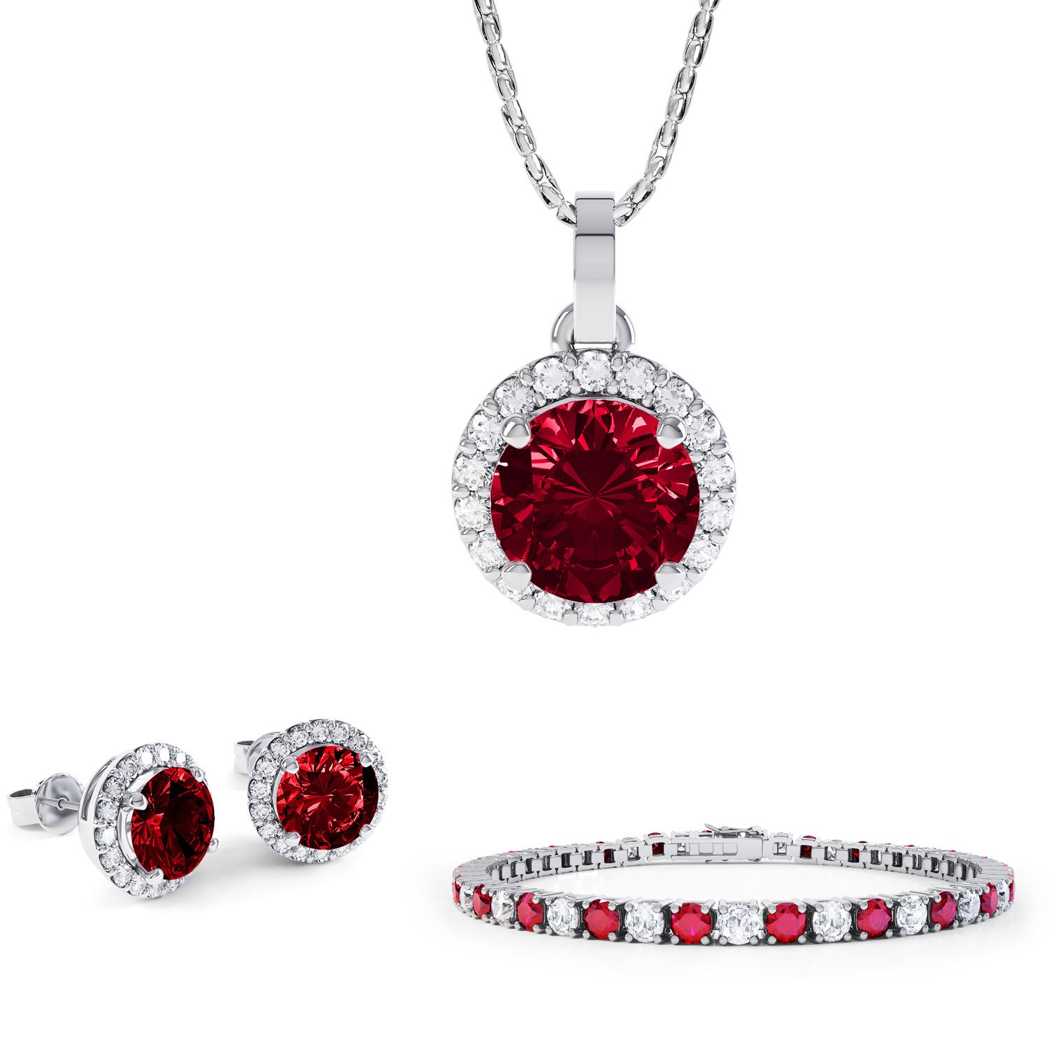 Eternity Ruby Platinum plated Silver Jewelry Set with Pendant