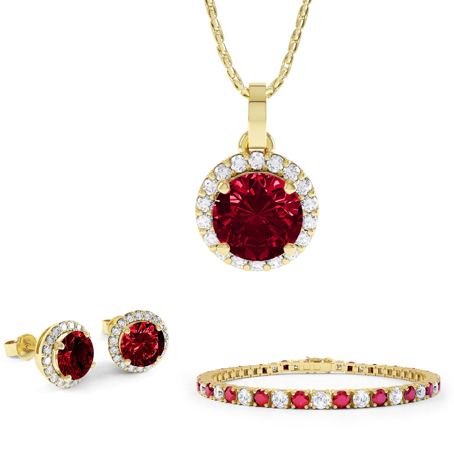 Eternity Ruby 18K Gold Vermeil Jewelry Set with Pendant