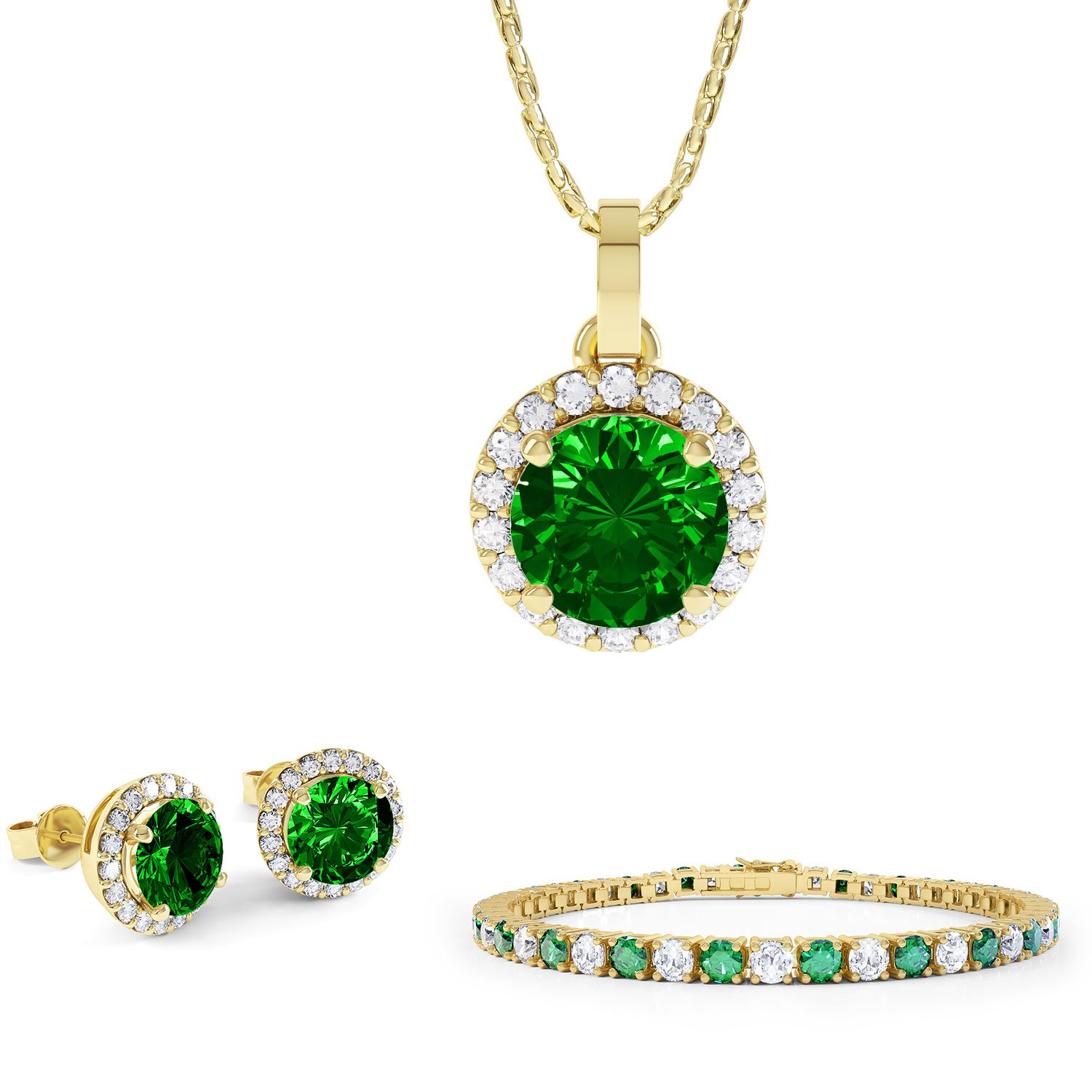 Eternity Emerald 18ct Gold Vermeil Jewelry Set with Pendant