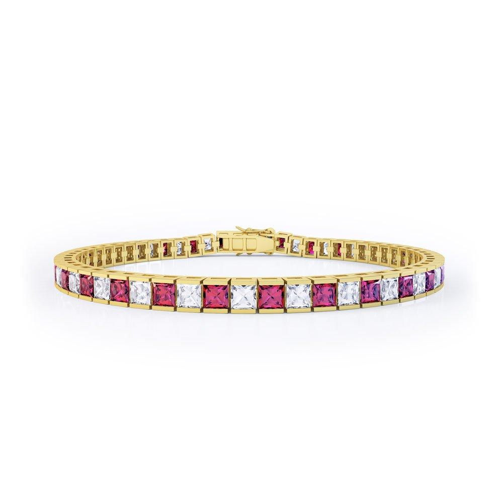 Princess Ruby 18ct Gold Vermeil Tennis Bracelet