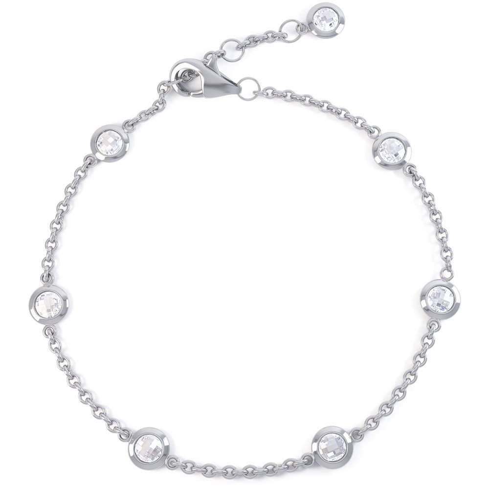 By the Yard White Sapphire Platinum plated Silver Bracelet