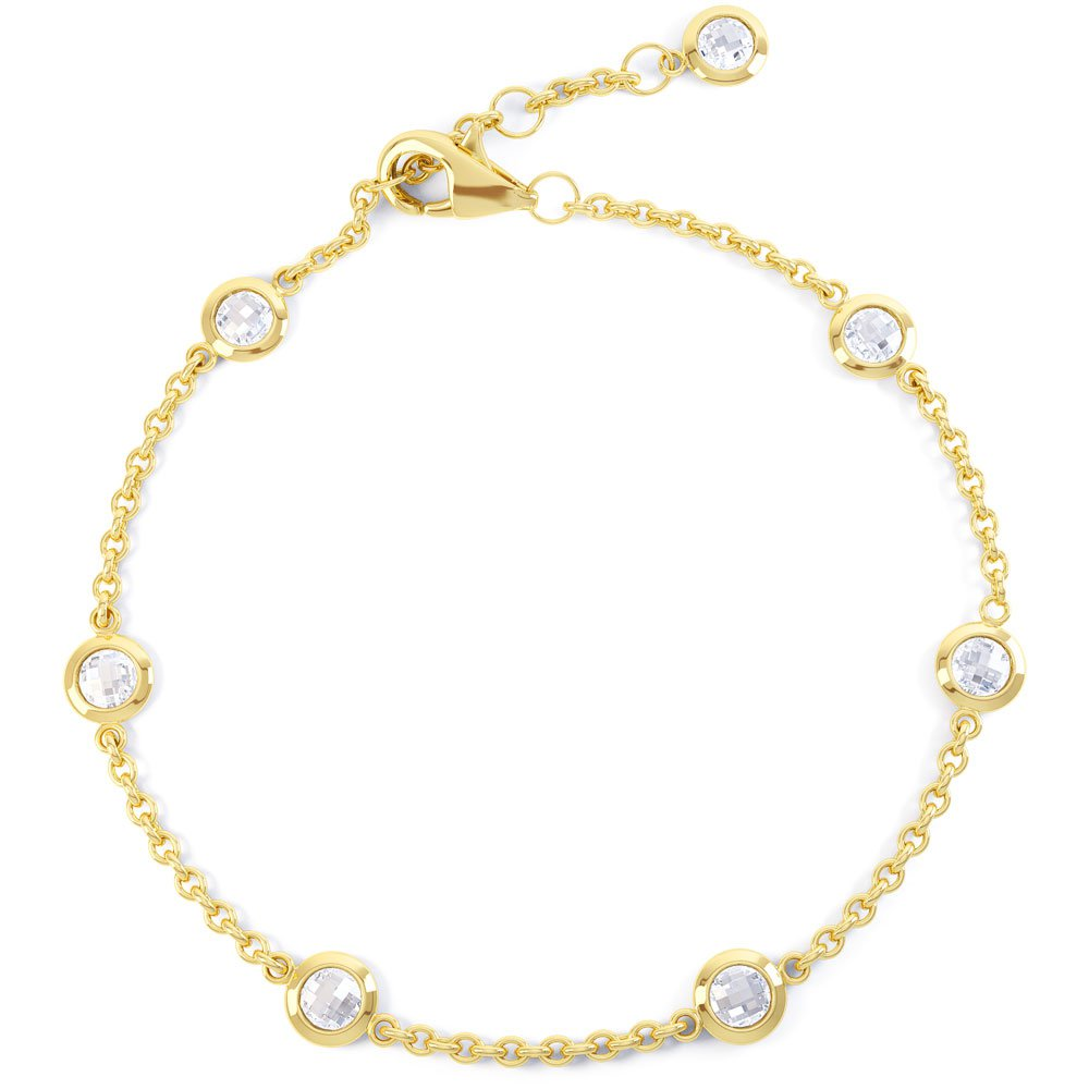 By the Yard White Sapphire 18ct Yellow Gold Bracelet