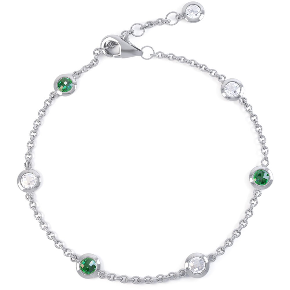 By the Yard Emerald 18ct White Gold Bracelet
