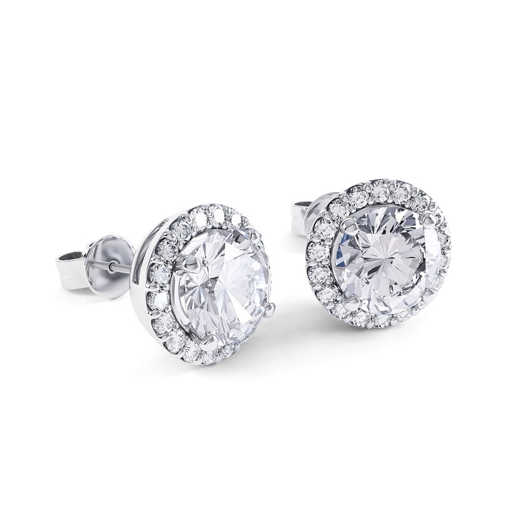 Eternity 2ct GH SI Diamond Halo 18K White Gold Stud Earrings