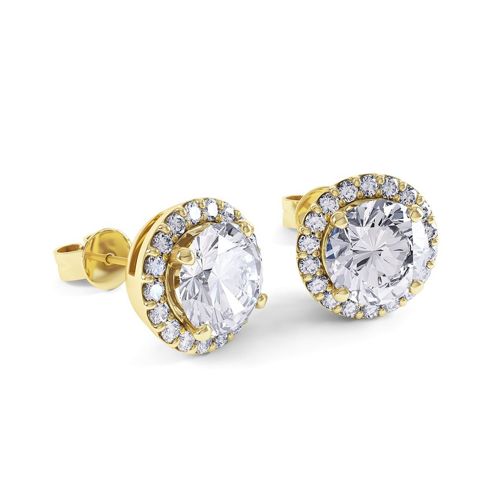 4491d51a0dd0 Eternity 2ct White Sapphire Halo 18ct Gold Vermeil Stud Earrings ...