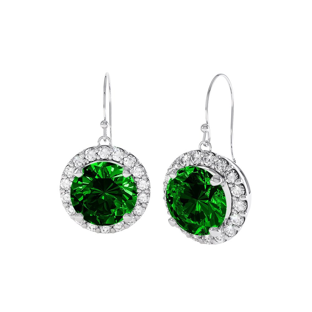 Eternity 1ct Emerald Halo Platinum plated Silver Drop Earrings