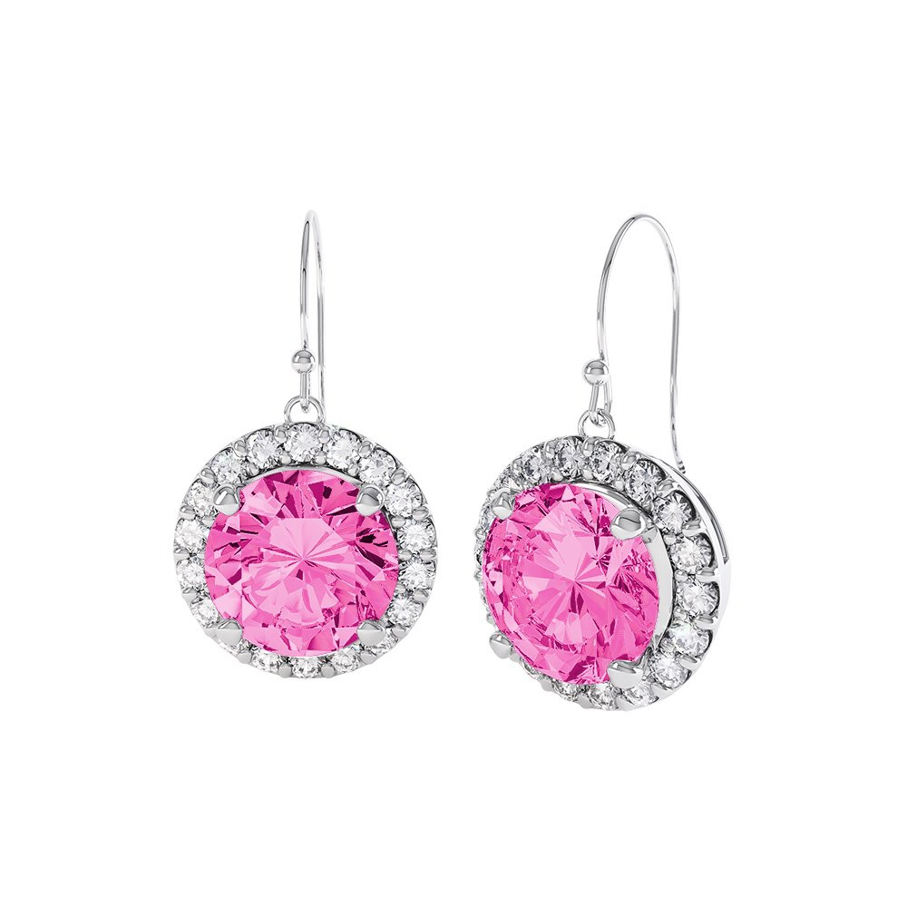 Halo 2ct Pink Shire 18ct White Gold Drop Earrings