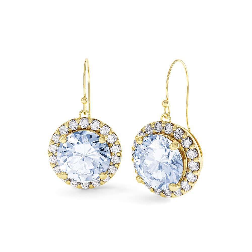 Halo Aquamarine And Diamond 18ct Yellow Gold Drop Earrings