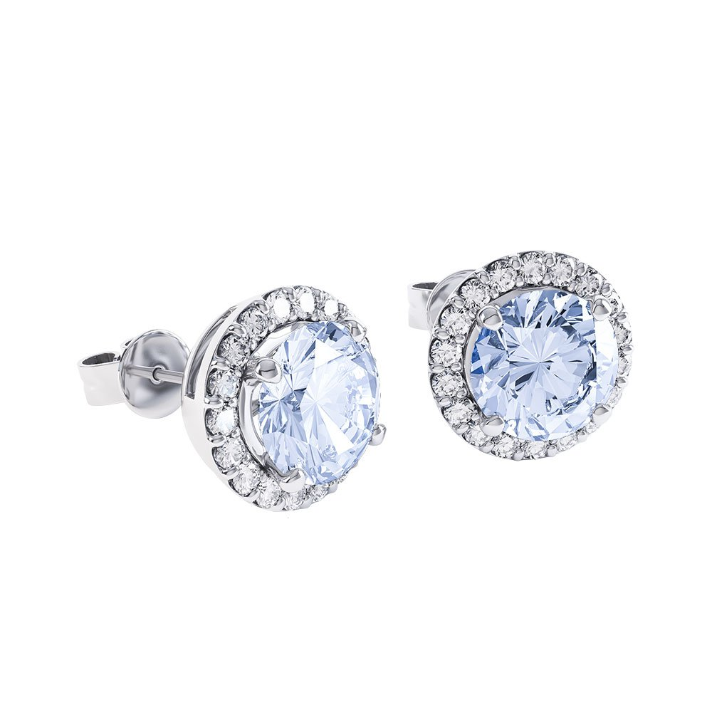 Halo Aquamarine 18ct White Gold Stud Earrings