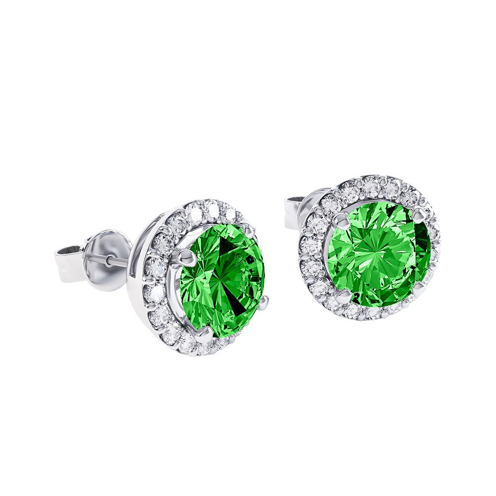 Halo 2ct Chrome Diopside Platinum plated Silver Stud Earrings