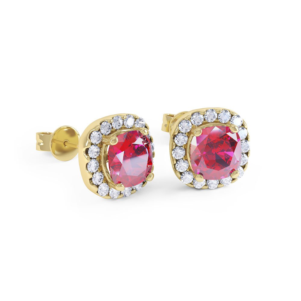Princess 2ct Ruby Halo 18ct Gold Vermeil Stud Earrings