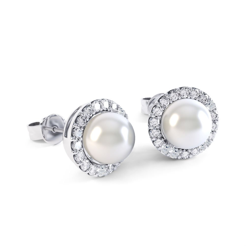 Venus Akoya Pearl And Diamond 18ct White Gold Halo Stud Earrings