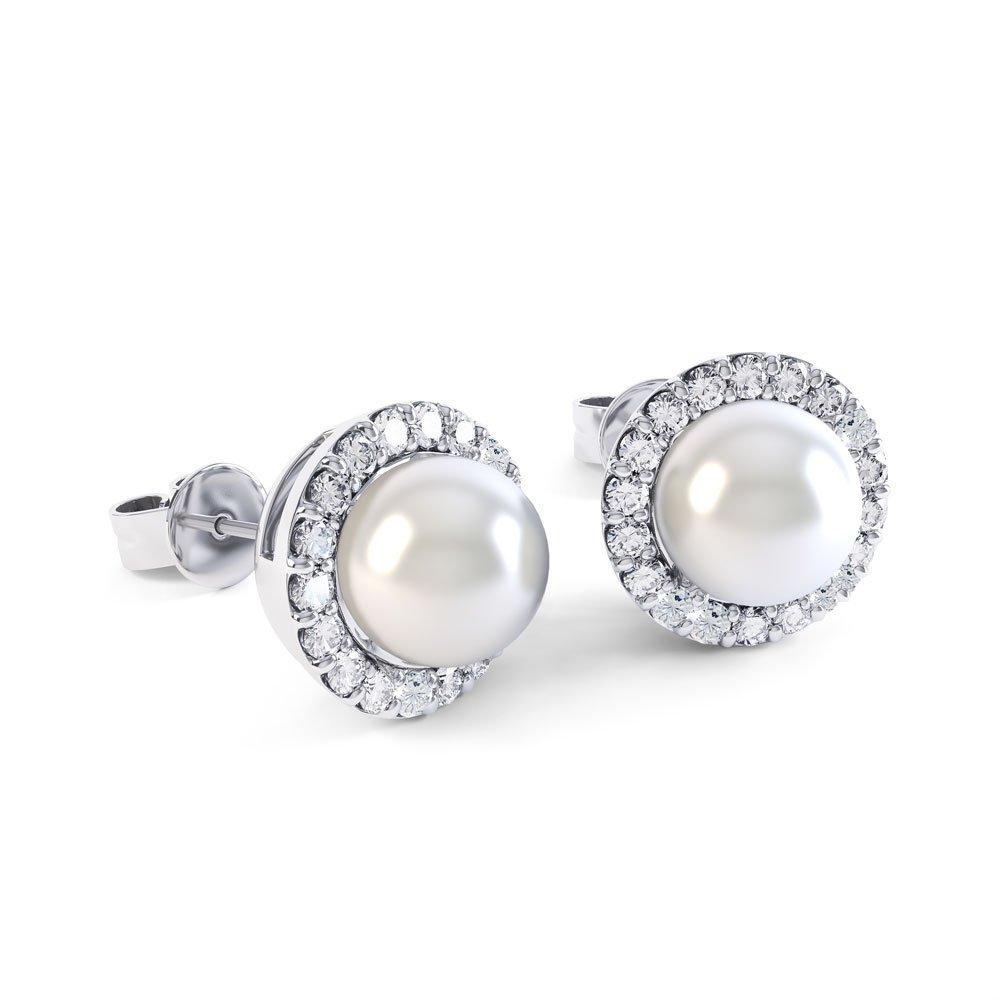 Venus Pearl Halo Platinum Plated Silver Stud Earrings