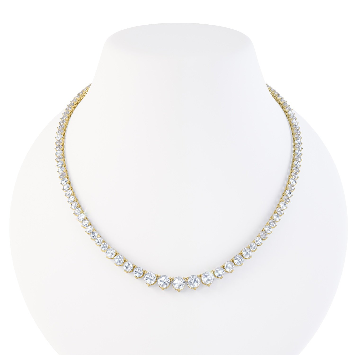 Eternity White Sapphire 18ct Gold Vermeil Tennis Necklace
