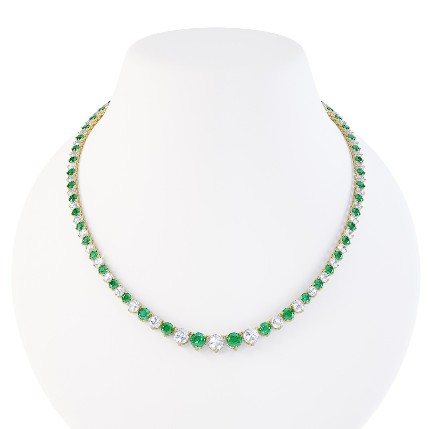 Eternity Emerald CZ 18ct Gold plated Silver Tennis Necklace