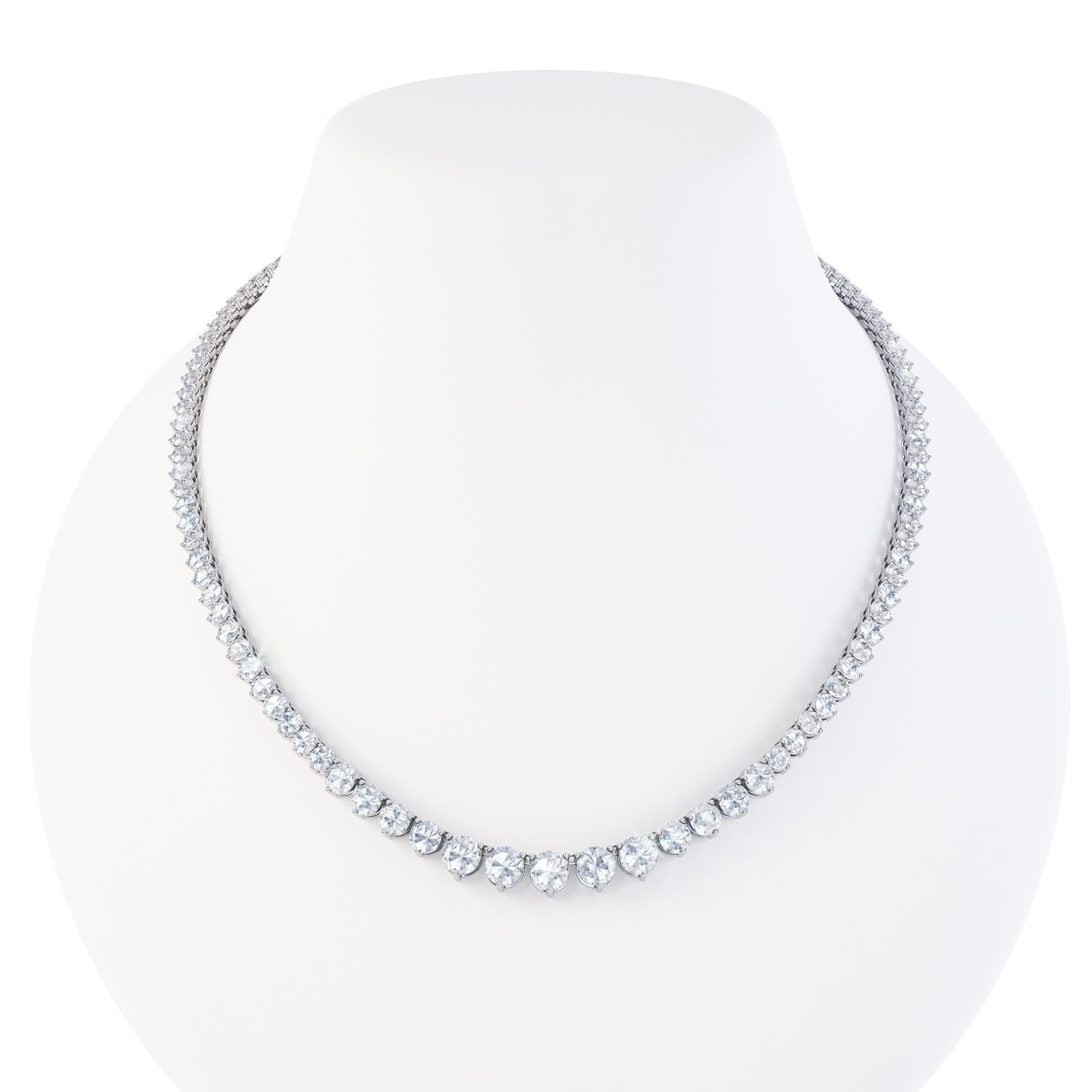 Eternity White Sapphire Platinum plated Silver Tennis Necklace