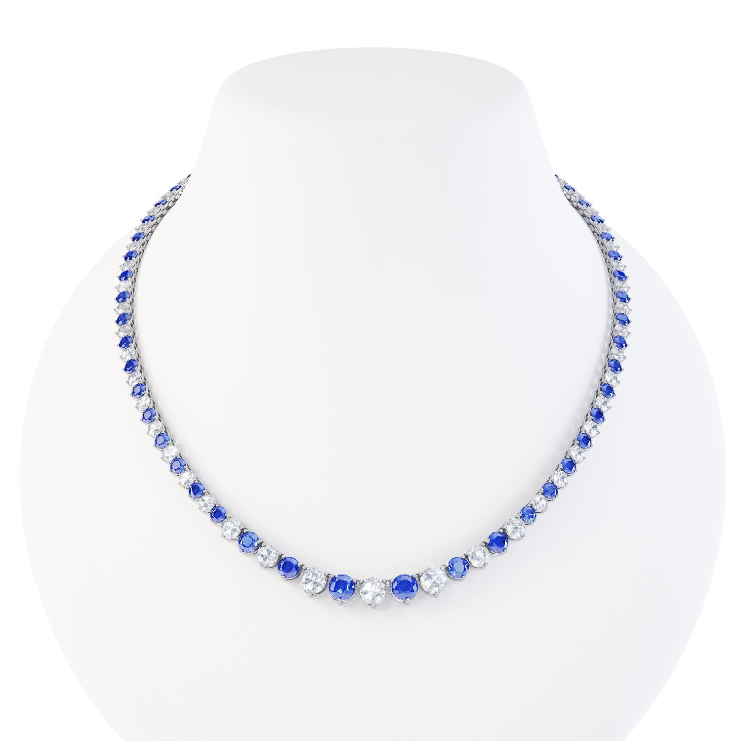 Eternity Sapphire Platinum plated Silver Tennis Necklace