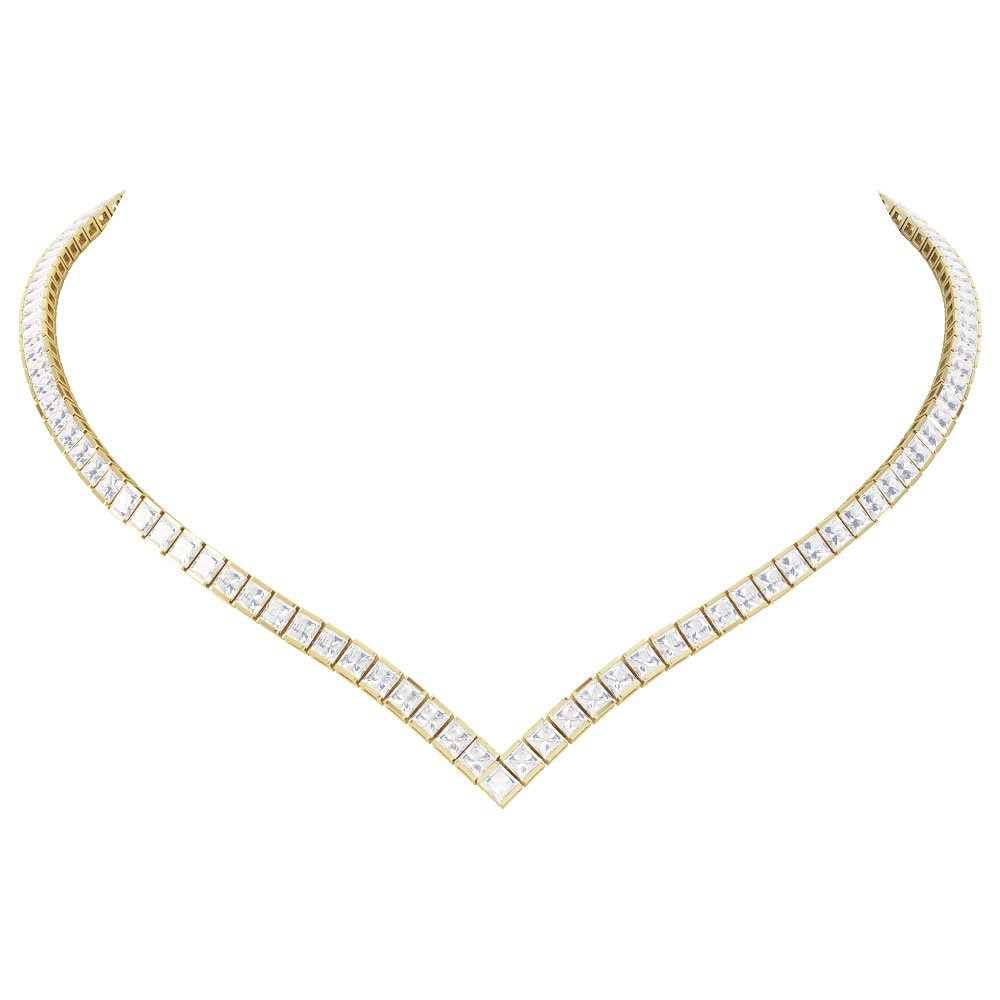 diamond cover product necklace white graduated tennis gold