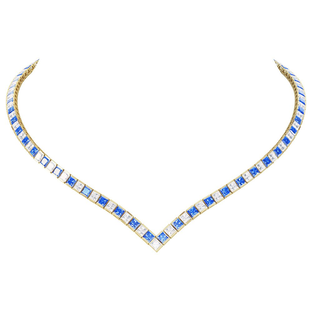 Princess Sapphire CZ 18K Gold plated Silver Tennis Necklace