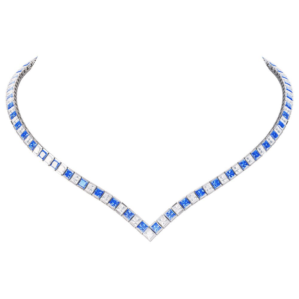 Princess Sapphire CZ Rhodium plated Silver Tennis Necklace