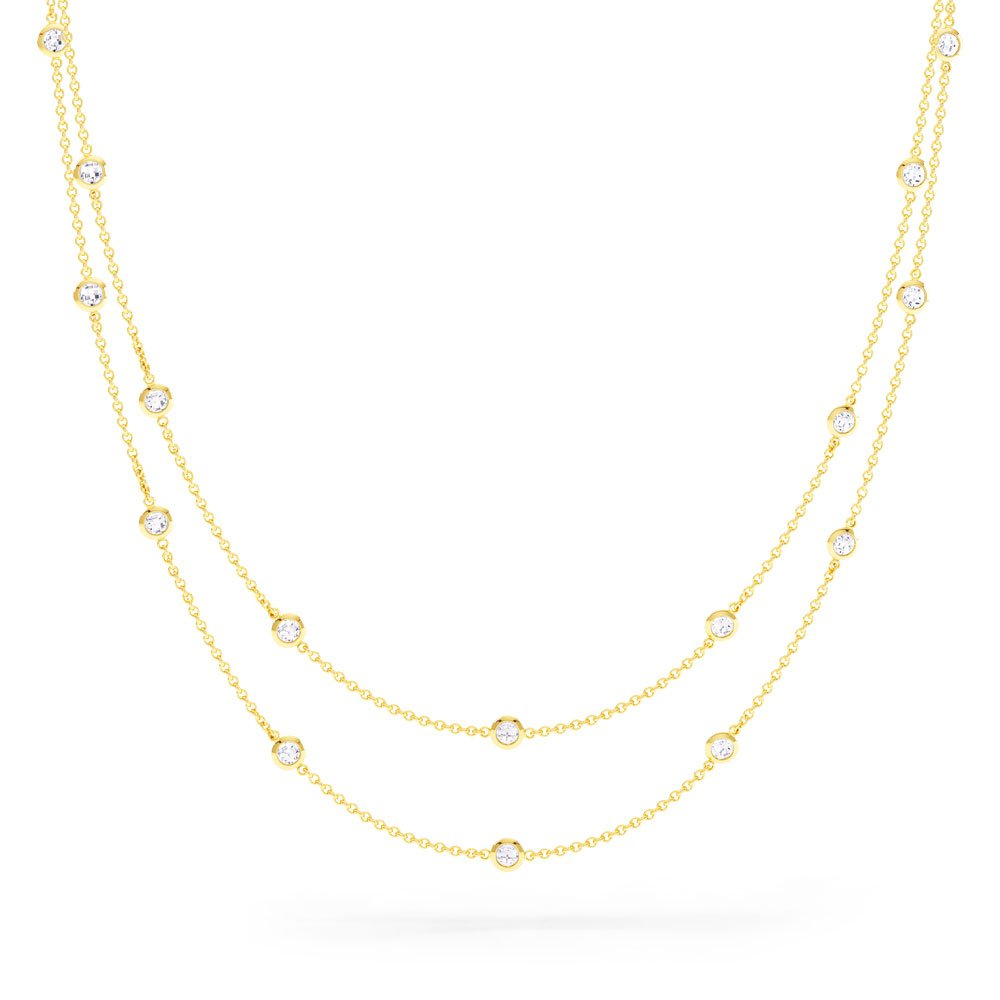 By the Yard White Sapphire 18ct Gold Vermeil Necklace