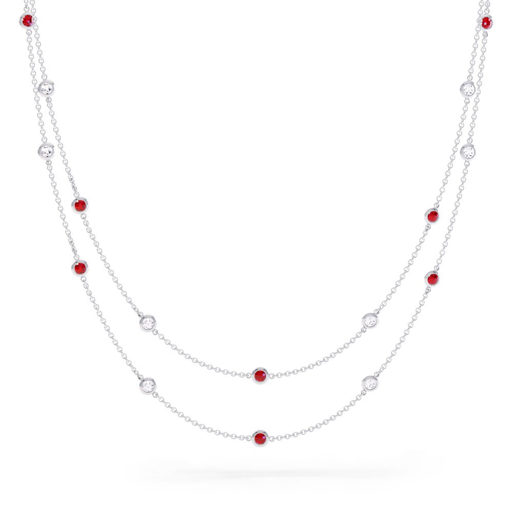By the Yard Ruby Platinum plated Silver Necklace