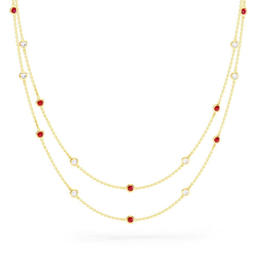 By the Yard Ruby 18ct Gold Vermeil Necklace