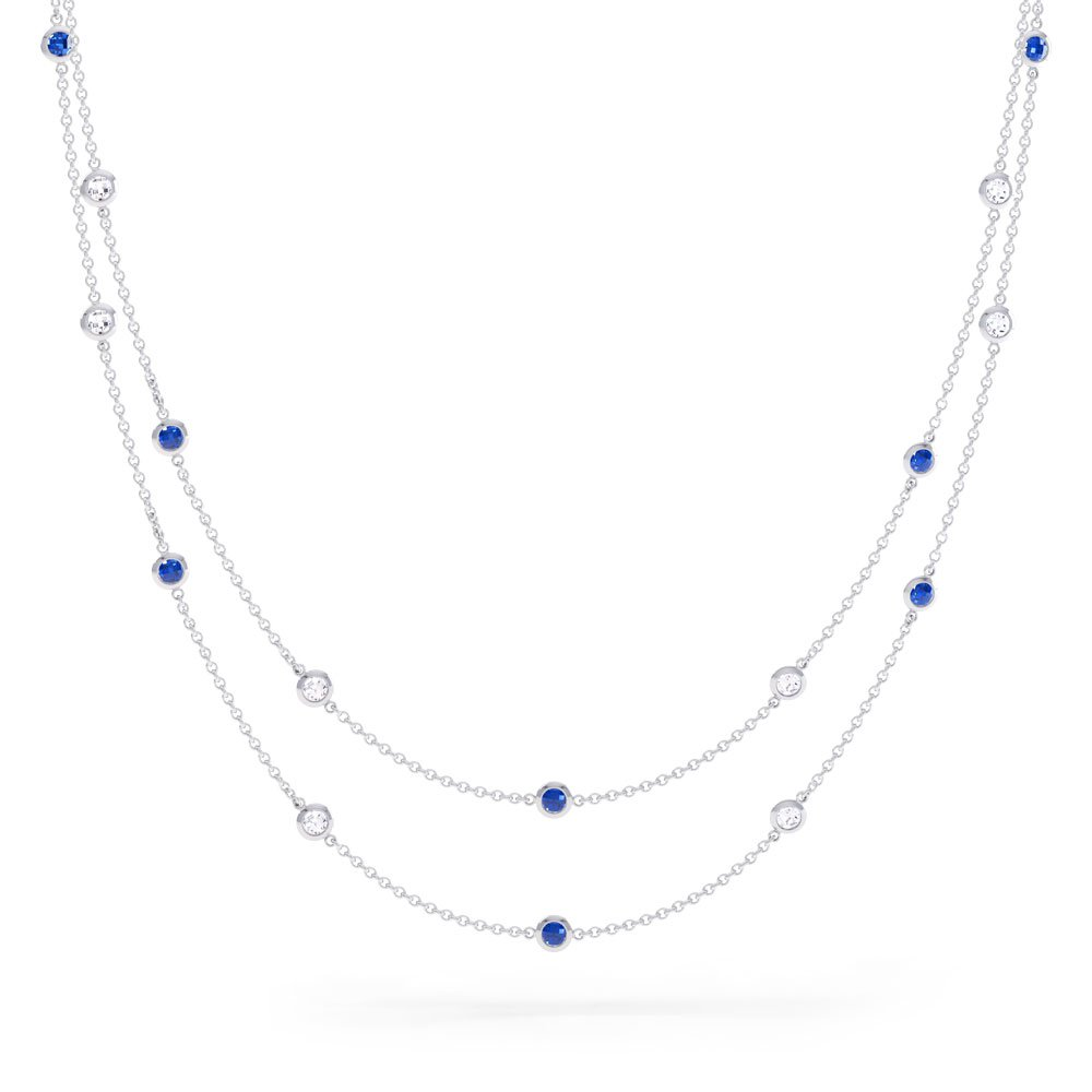 By the Yard Sapphire Platinum plated Silver Necklace