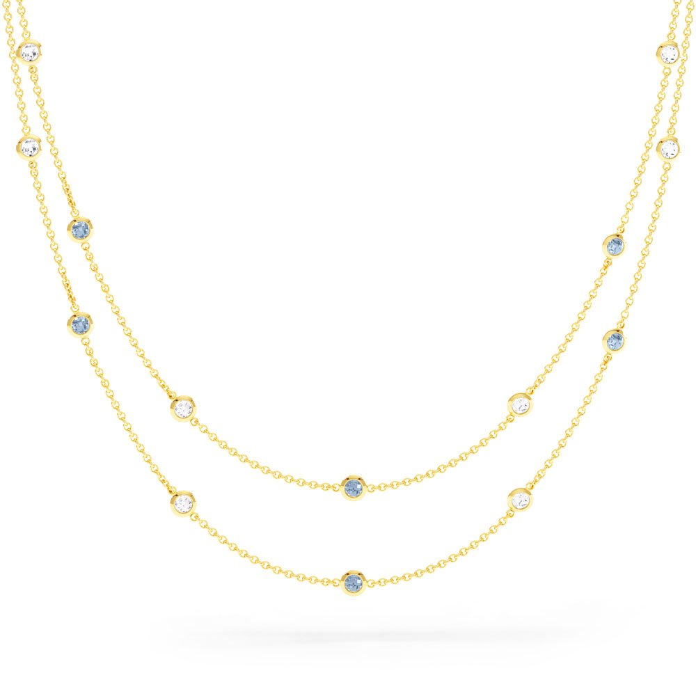 By the Yard Aquamarine 18ct Gold Vermeil Necklace