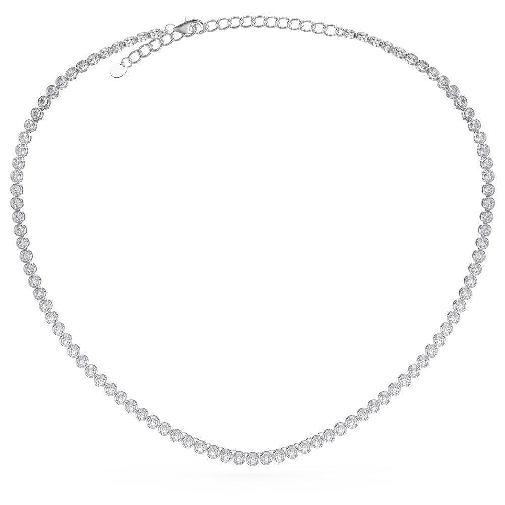 Infinity White Sapphire Platinum plated Silver Tennis Necklace