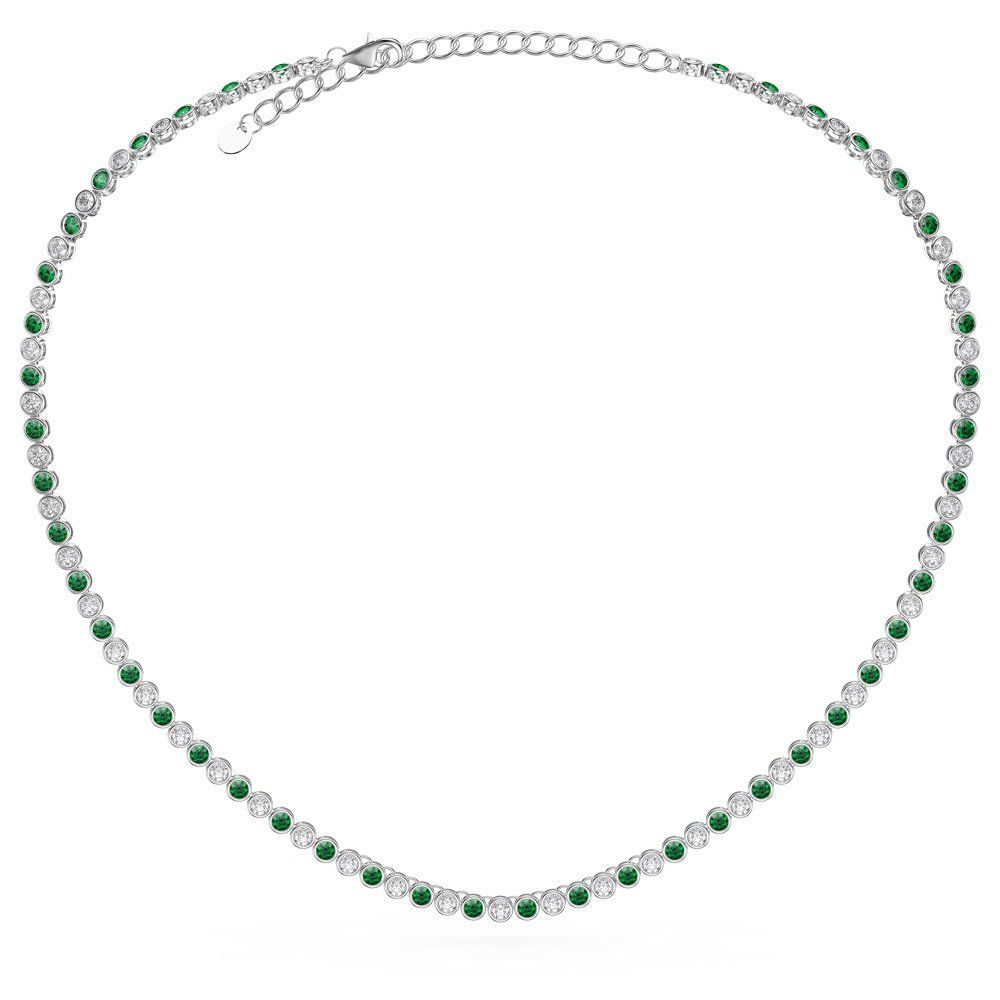 Infinity Emerald Platinum plated Silver Tennis Necklace