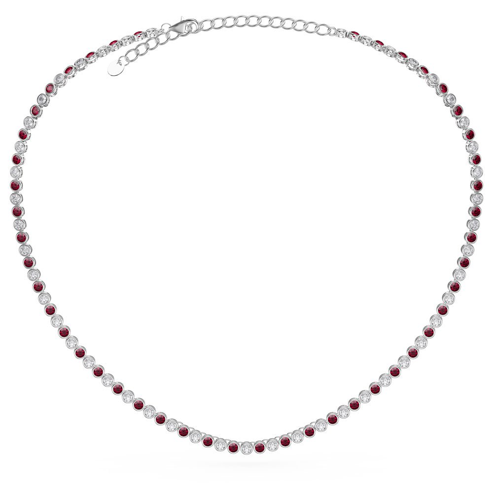 Infinity Ruby Platinum plated Silver Tennis Necklace