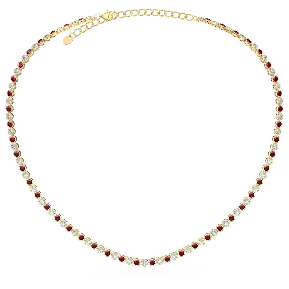 Infinity Ruby 18K Gold Vermeil Tennis Necklace