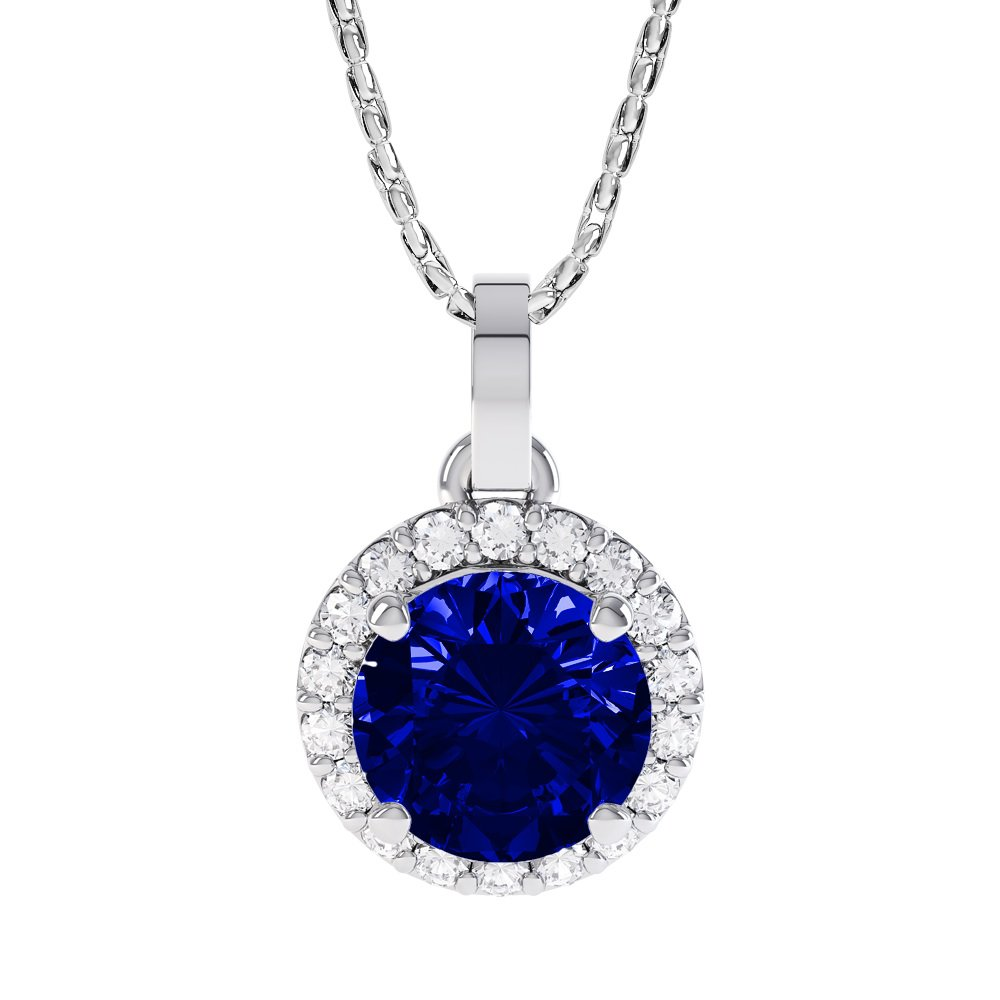 Eternity 1ct Sapphire Halo Platinum plated Silver Pendant