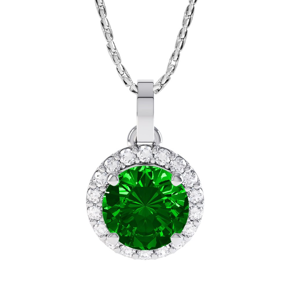 Eternity 0.5ct Emerald Halo Platinum plated Silver Pendant