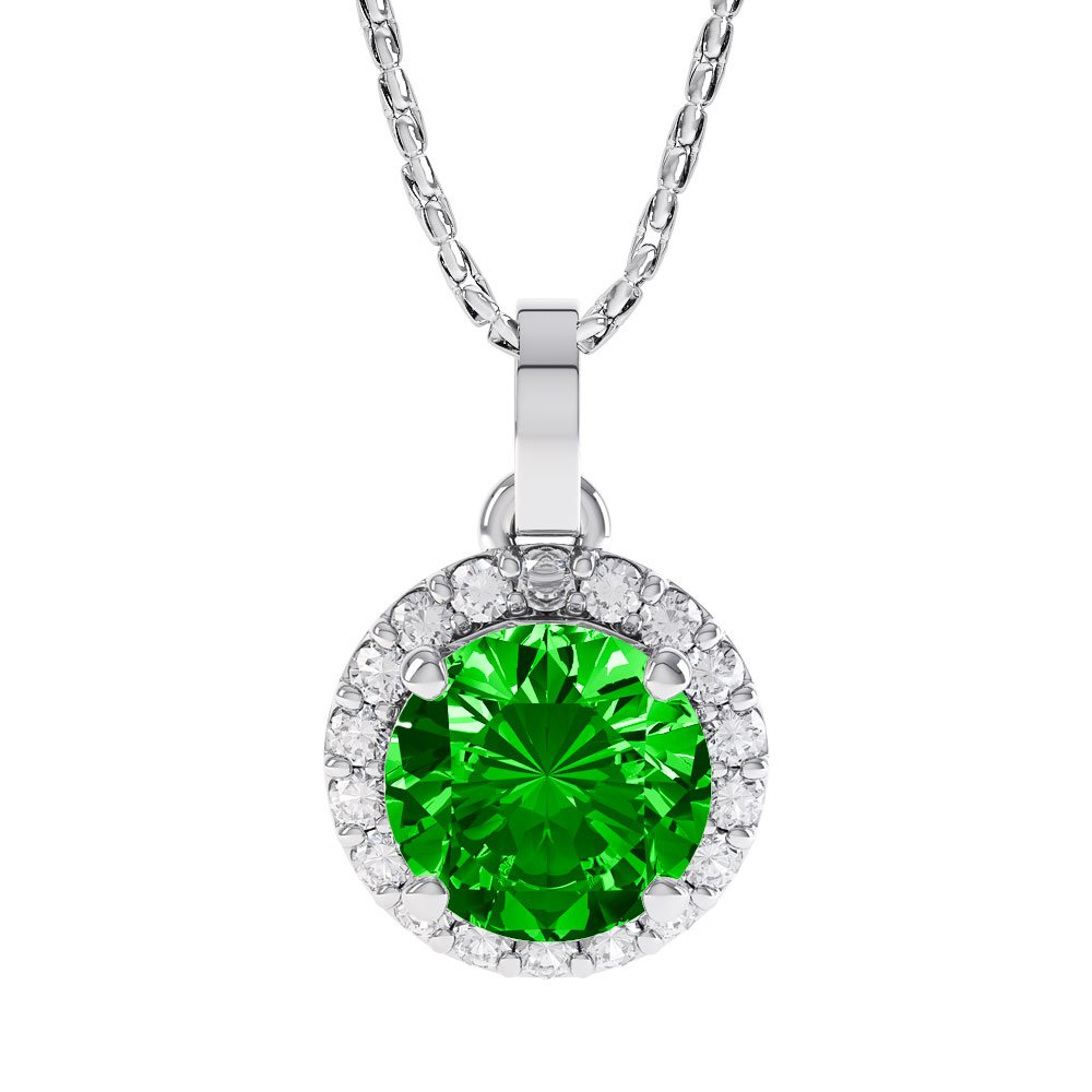 Halo 1ct Chrome Diopside Silver Pendant
