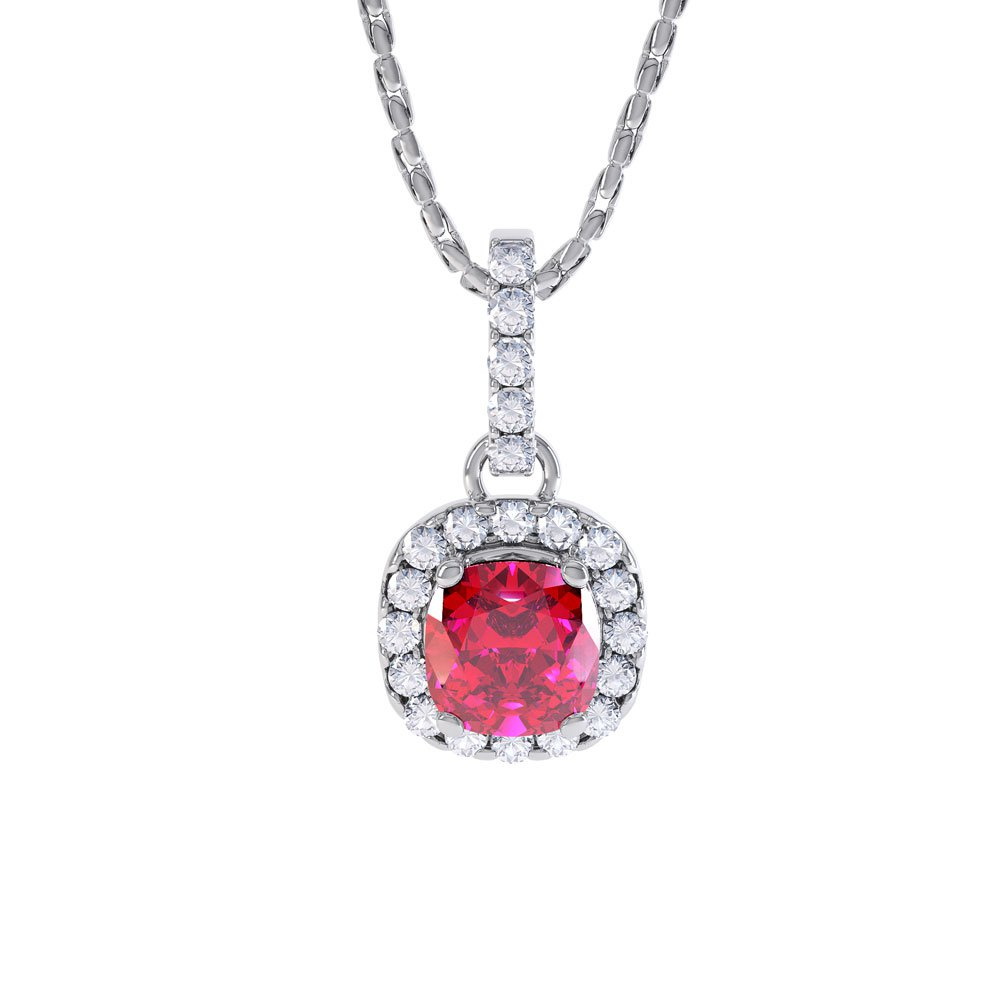 Princess 1ct Ruby Halo Platinum plated Silver Pendant