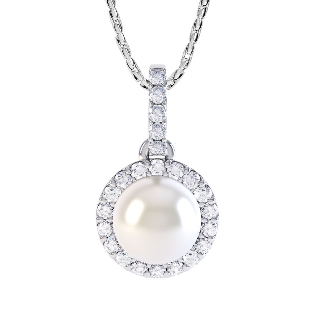 Venus Akoya Pearl and Diamond Halo 18ct White Gold Pendant