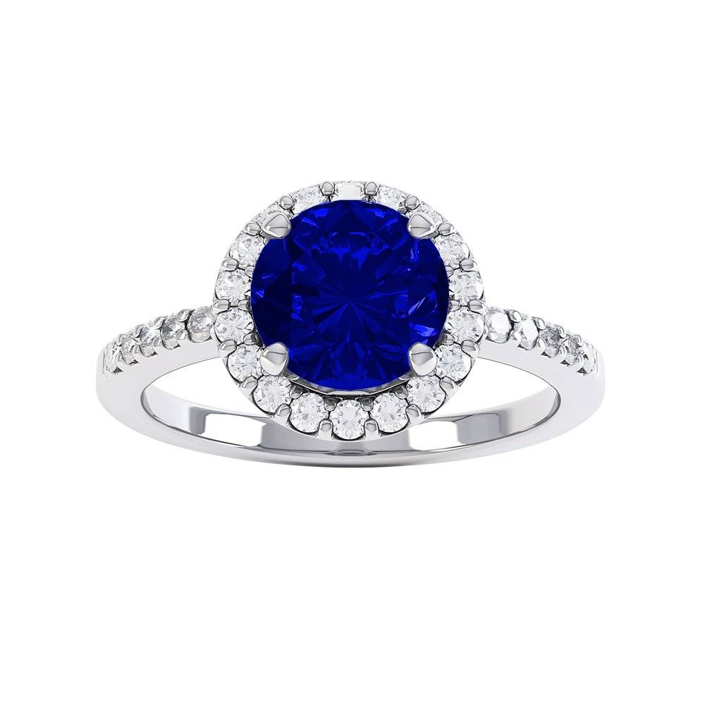 Eternity 1ct Sapphire Halo Platinum plated Silver Promise Ring