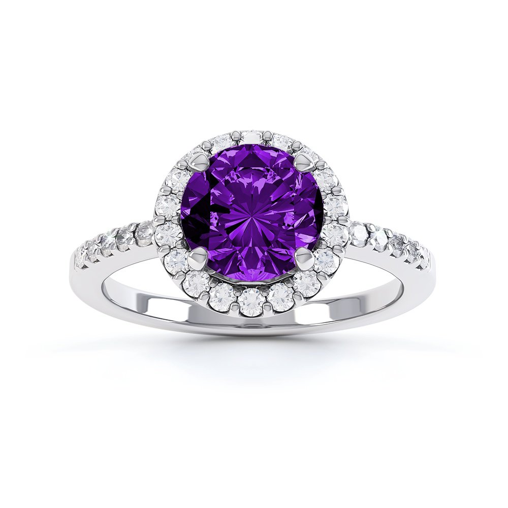 Halo 1ct Amethyst Halo Platinum plated Silver Promise Ring